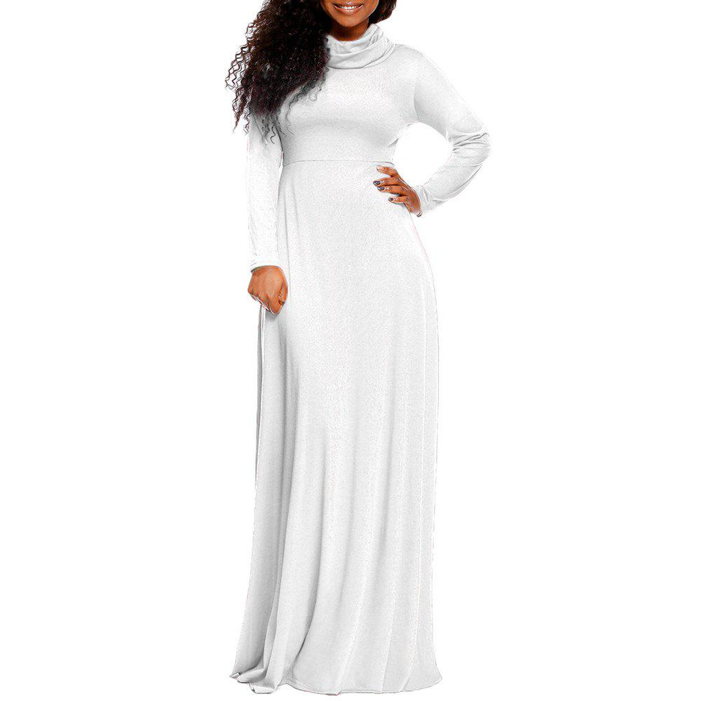 New Women's Heap Collar Solid Color Long Sleeve Plus Size Regular Maxi Dress