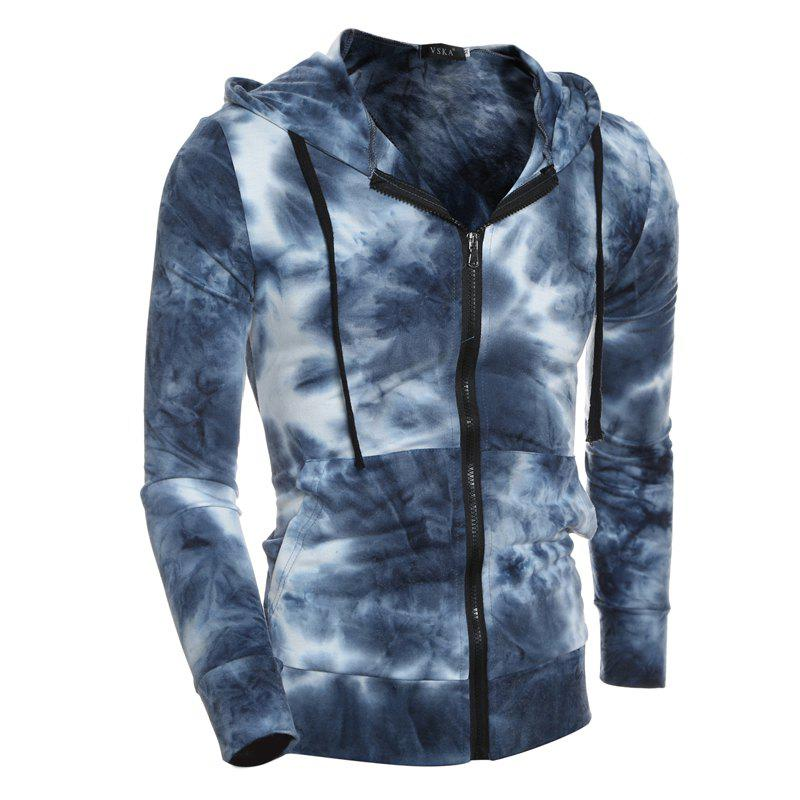 Latest Gradient Style Men's Casual Zipper Cardigan Hooded Sweater