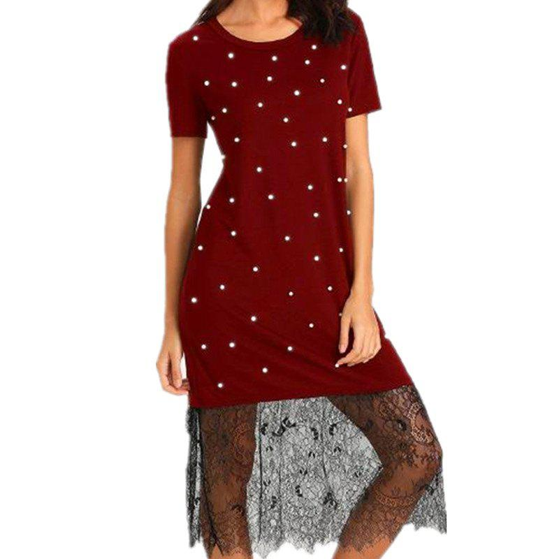 Chic A Red Lace Dress with Beads on It