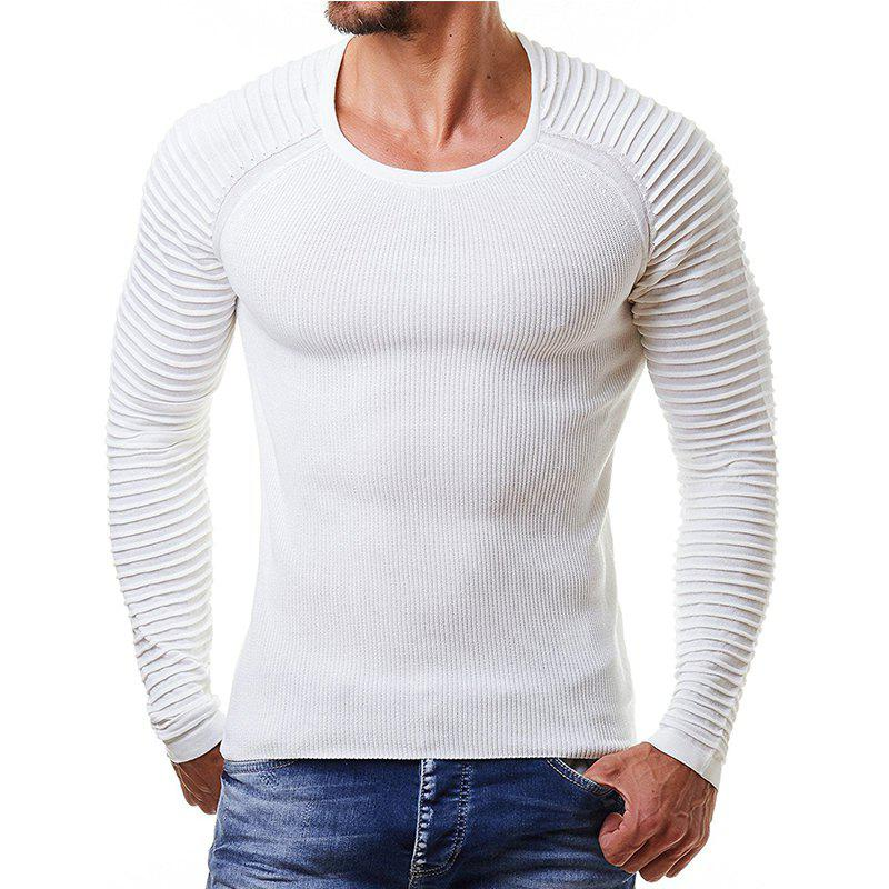 Chic Men's Pleated Sleeve Round Neck Sweater Sweater