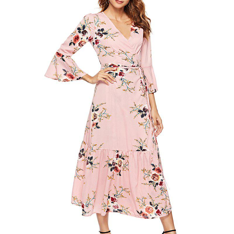 472a476170d In The Fall of Cultivate One S Morality V-Neck Printing Big Dress - Pink - L