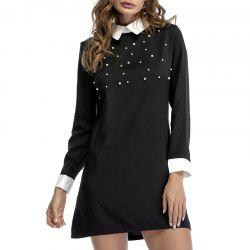 Nail Bead Autumn Lapel Cultivate One'S Morality Show Thin Long-Sleeved Dress -