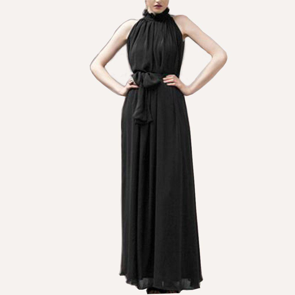 Affordable Ladies Solid Color Dress Hanging Neck Round Neck Chiffon Dress Long Dress