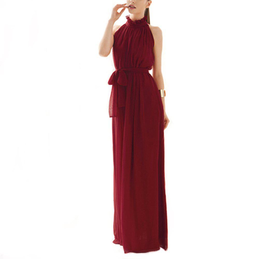 New Ladies Solid Color Dress Hanging Neck Round Neck Chiffon Dress Long Dress
