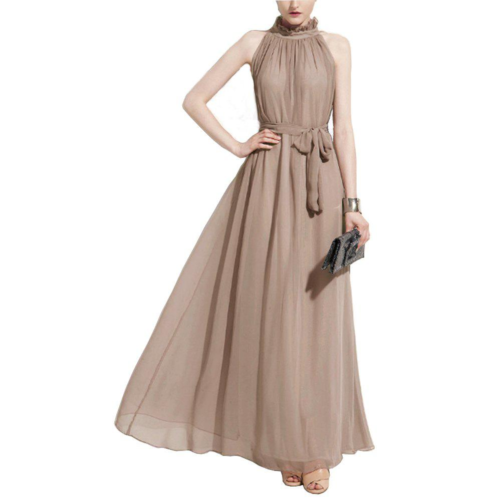 Chic Ladies Solid Color Dress Hanging Neck Round Neck Chiffon Dress Long Dress