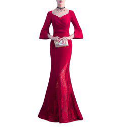 Ladies' Long Lace Dress Solid Color Sexy Party Cocktail Party for Ladies -