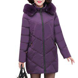 Plus Size Winter Women Hooded Coat Fur Collar Thicken Warm Long Jacket -