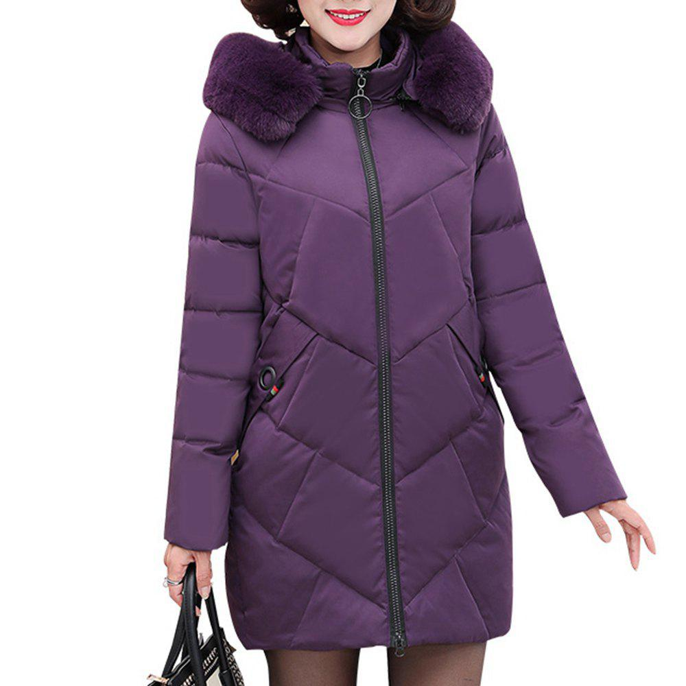 Fancy Plus Size Winter Women Hooded Coat Fur Collar Thicken Warm Long Jacket