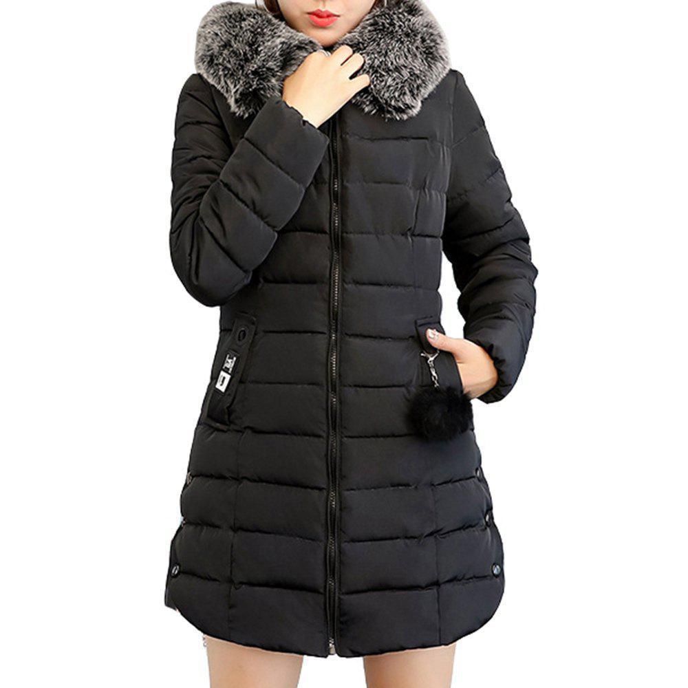 Fancy Plus Size Winter Coat Women Fake Fur Collar Warm Woman Parka