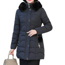Plus Size Winter Women Cotton Hooded Coat Large Fur Collar Loose Warm Parka -