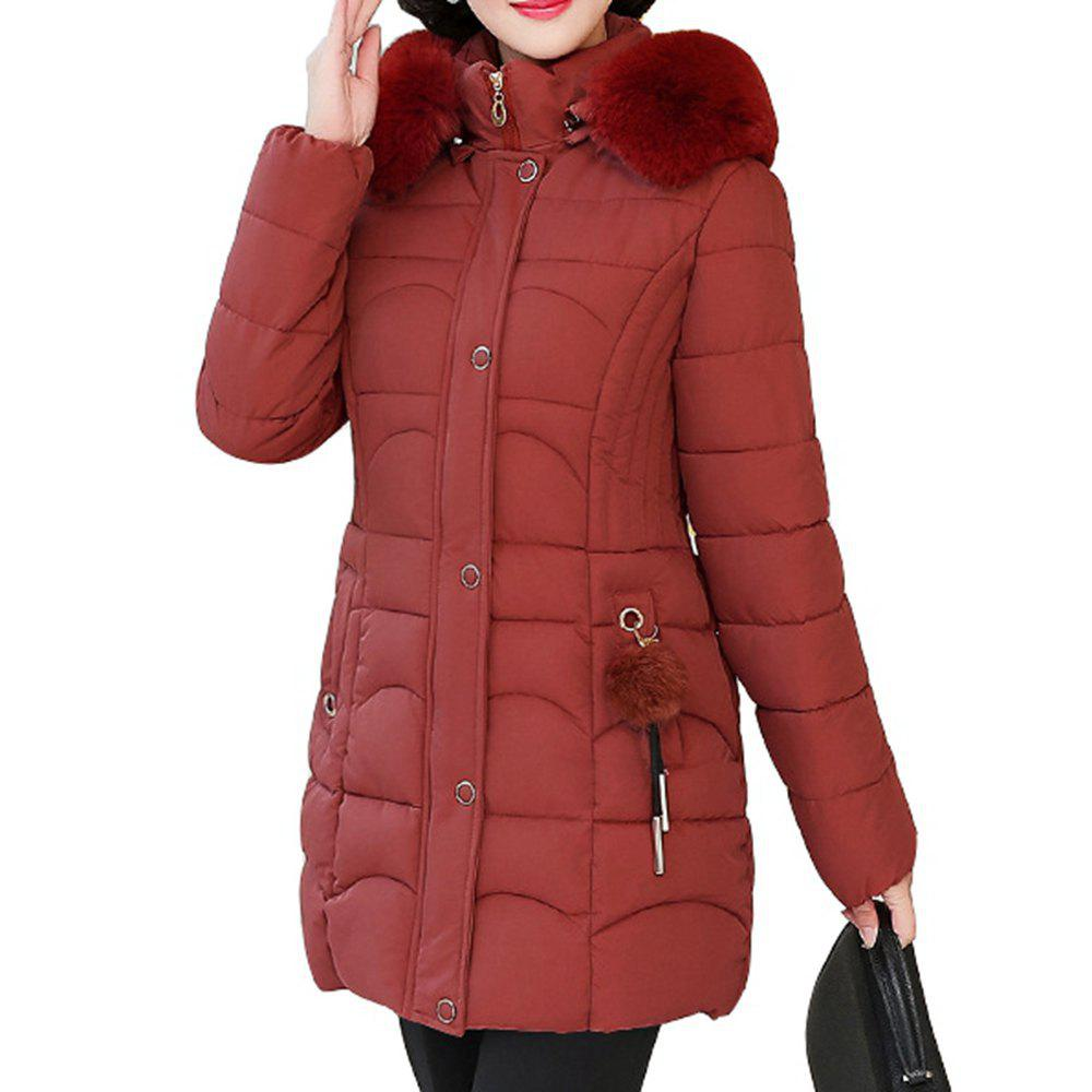 Unique Plus Size Winter Women Cotton Hooded Coat Large Fur Collar Loose Warm Parka