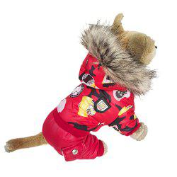 Pet Dog Clothes Winter Warm Red Jacket Jumpsuit Padded Pet Clothing -