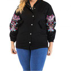 Large Embroidered Long Sleeve Jacket for Women -