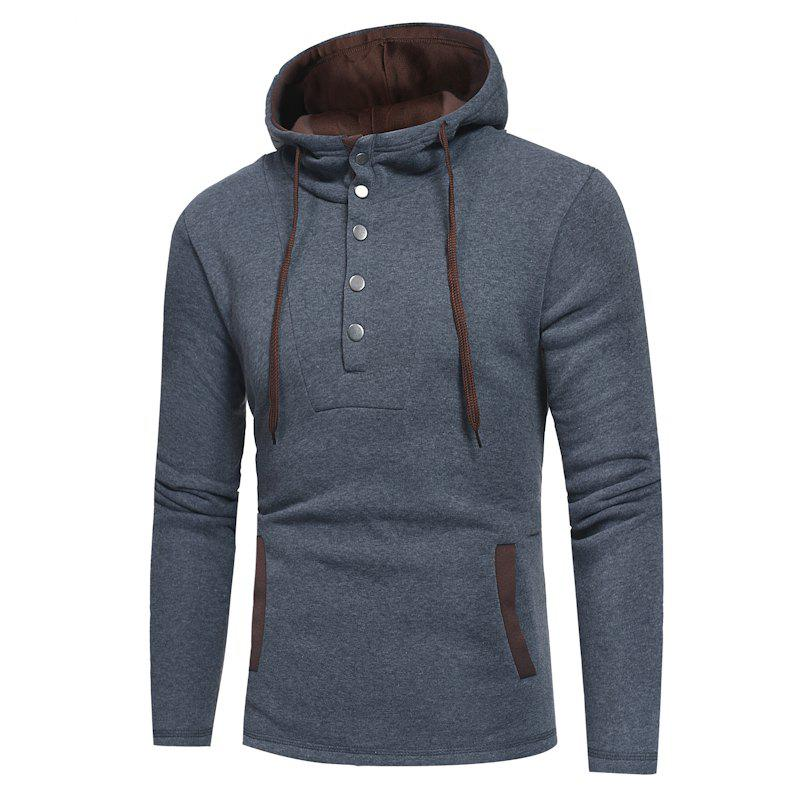 Shop New Men'S Fashion Button Stitching Contrast Hooded Long Sleeve Slim Hoodie