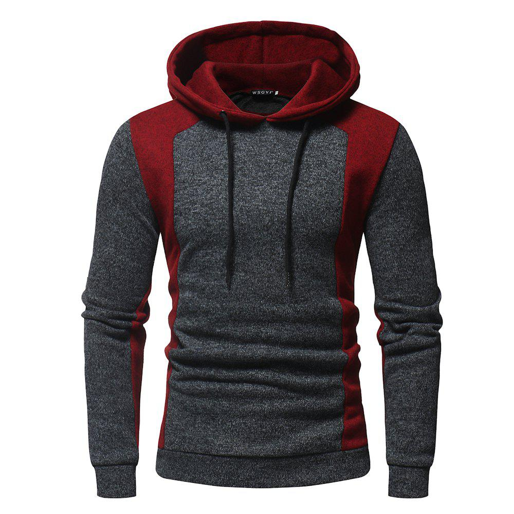 Shop 2018 New Men'S Fashion Contrast Color Mosaic Hooded Slim Long-Sleeved Hoodie
