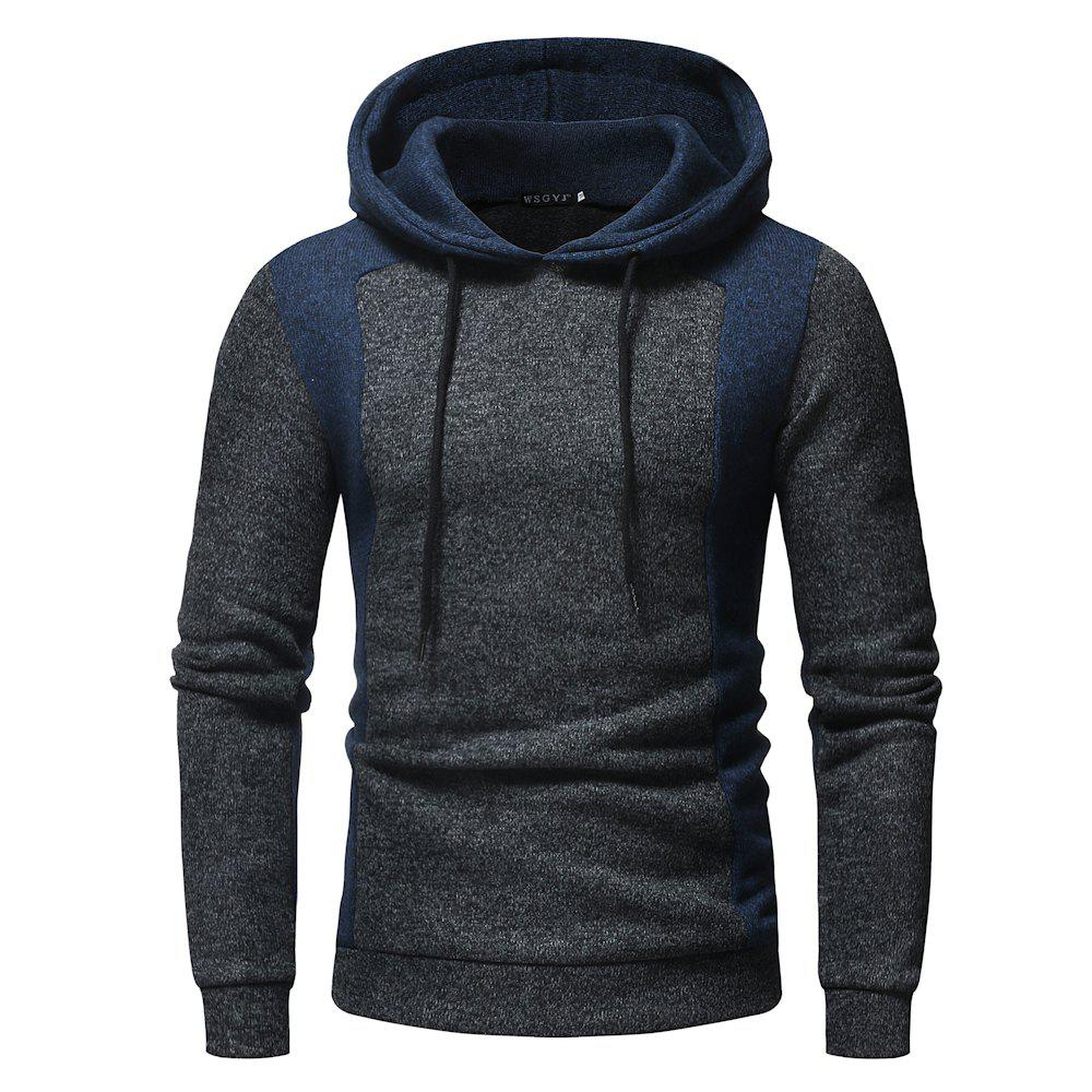 Fashion 2018 New Men'S Fashion Contrast Color Mosaic Hooded Slim Long-Sleeved Hoodie
