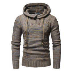 2018 New Men'S Fashion Colorblock Twist Double-Breasted Hooded Slim Sweater -