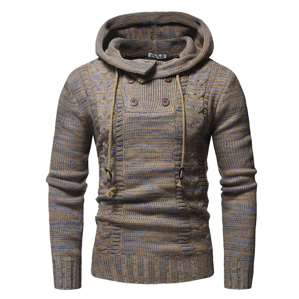 Sale 2018 New Men'S Fashion Colorblock Twist Double-Breasted Hooded Slim Sweater