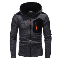 2018 New Men'S Fashion Zipper Contrast Color Mosaic Hooded Knit Sweater -