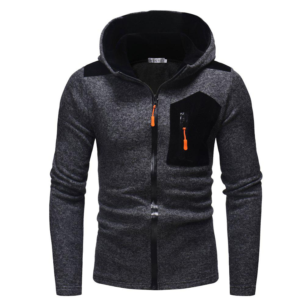 Fashion 2018 New Men'S Fashion Zipper Contrast Color Mosaic Hooded Knit Sweater