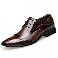 Men'S Business Suits Leather Splicing Pointed Men'S Shoes England Leather Shoes -