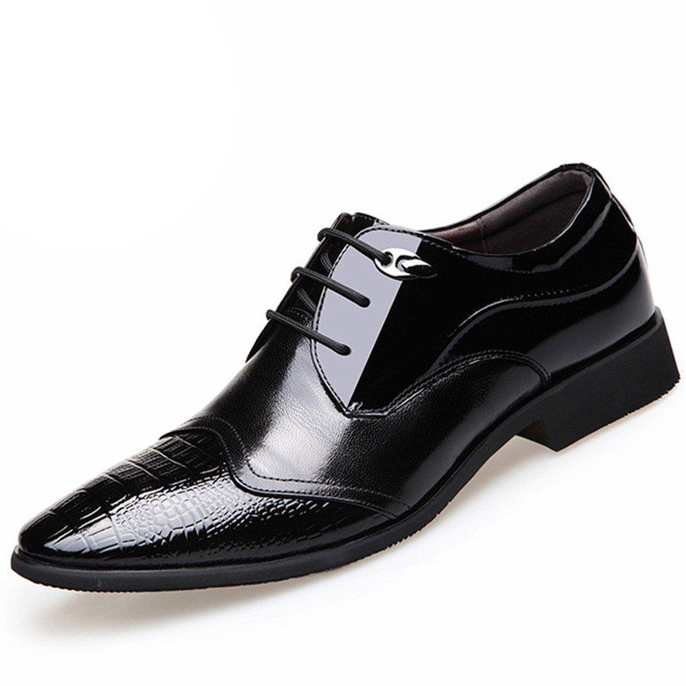 Latest Men'S Business Suits Leather Splicing Pointed Men'S Shoes England Leather Shoes