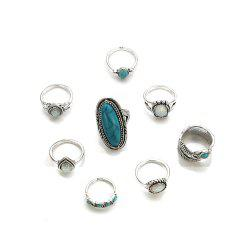 Bohemia Wind Jewel Turquoise Pattern Ring Eight Piece Combination Suit -