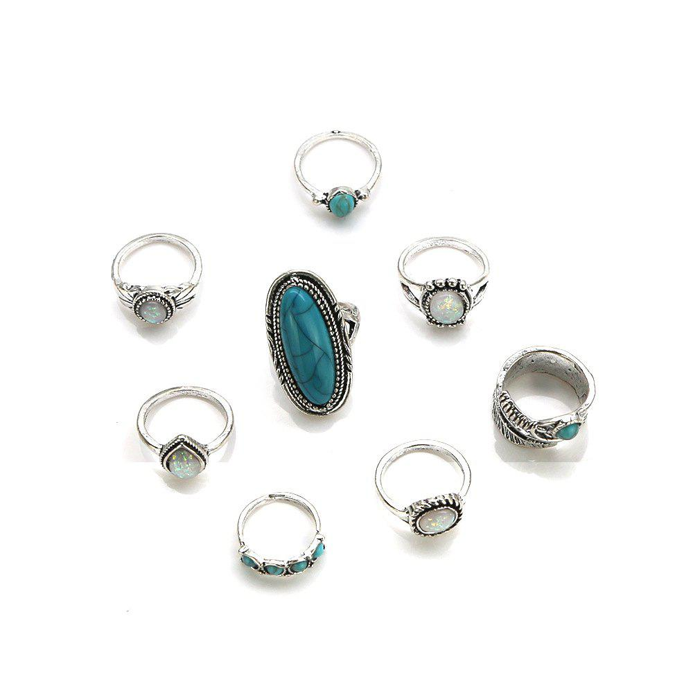 Shop Bohemia Wind Jewel Turquoise Pattern Ring Eight Piece Combination Suit