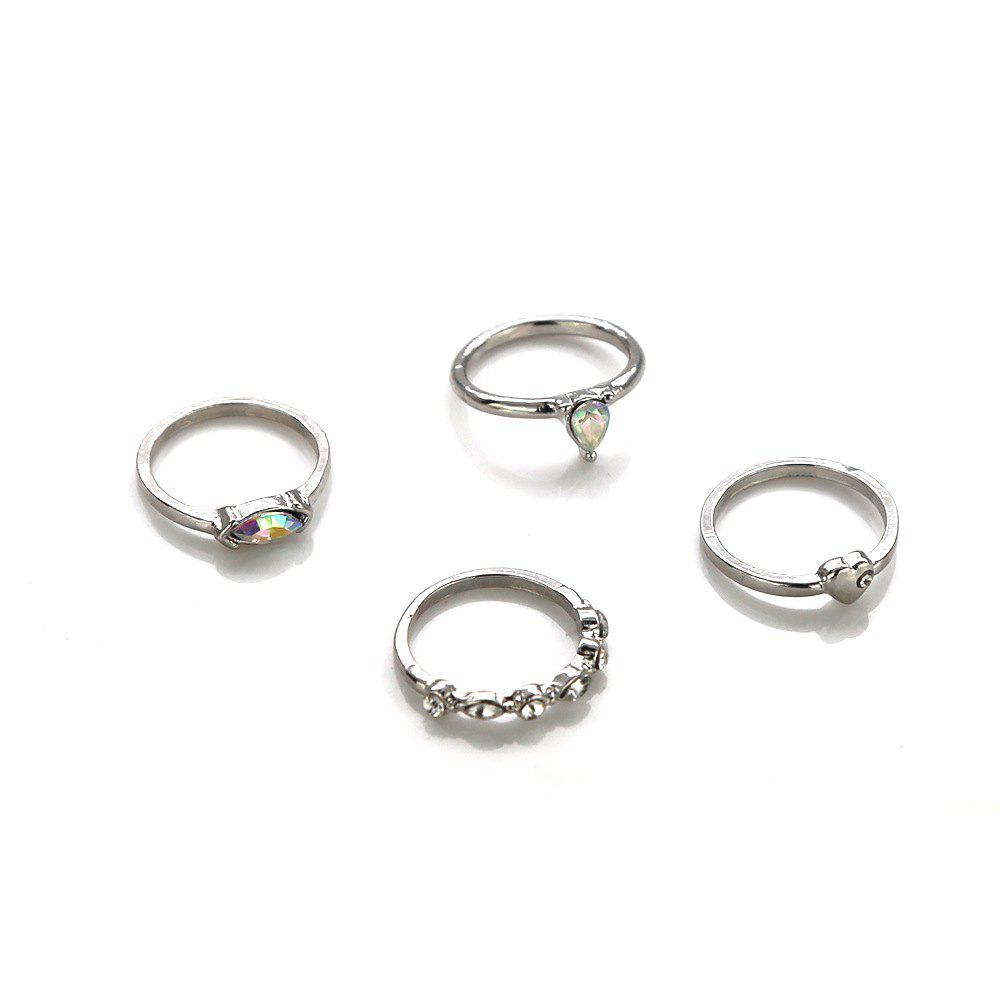 Cheap Women's diamond set love jewel joint ring combination 4 piece