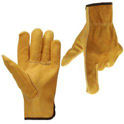 OZERO Cowhide Leather Work Gloves Drivers Safety Unlined Durable Wear-Resistant -