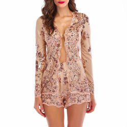Elegant Lace Sequined Sling Sexy Nightclub Mini Dress Suit -