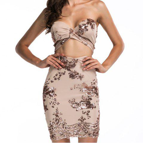 Elegant Sexy Tube Top Halter Sequins Fashion Nightclub Dress Dress Set
