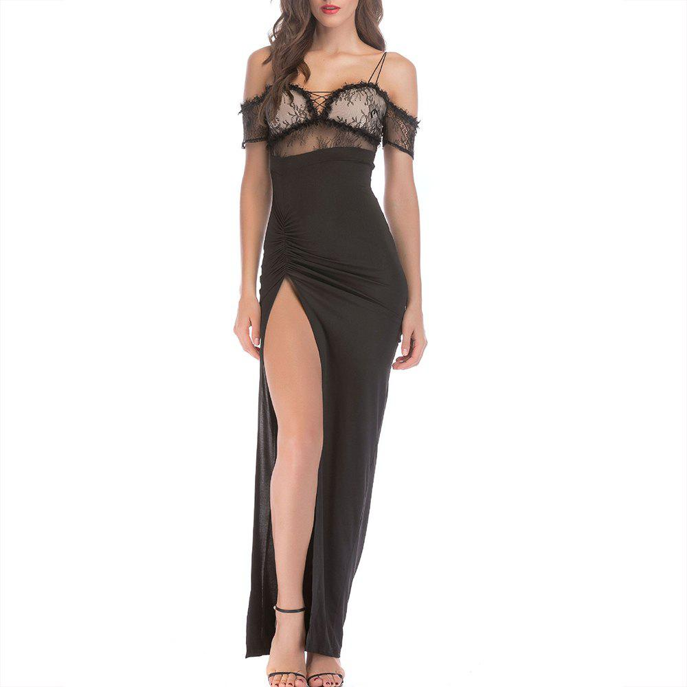 New Elegant Sexy Strapless Straps with Split Lace Trim Nightclub Dress