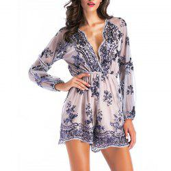 Elegant Sequined Sexy V-Neck Long Sleeve Lace Trim One-Piece Shorts -