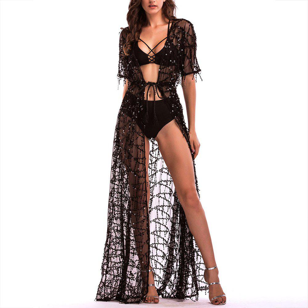 Latest Elegant Short Sleeve Perspective Sequined Lace Sexy Nightclub Maxi Dress