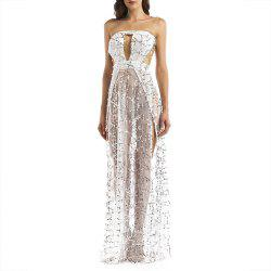 Elegant Tassel Sequined Tube Top Halter Mopping Long Nightclub Sexy Dress Gown -