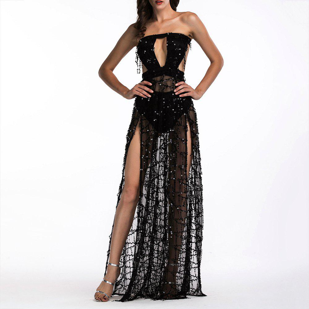 Shop Elegant Tassel Sequined Tube Top Halter Mopping Long Nightclub Sexy Dress Gown