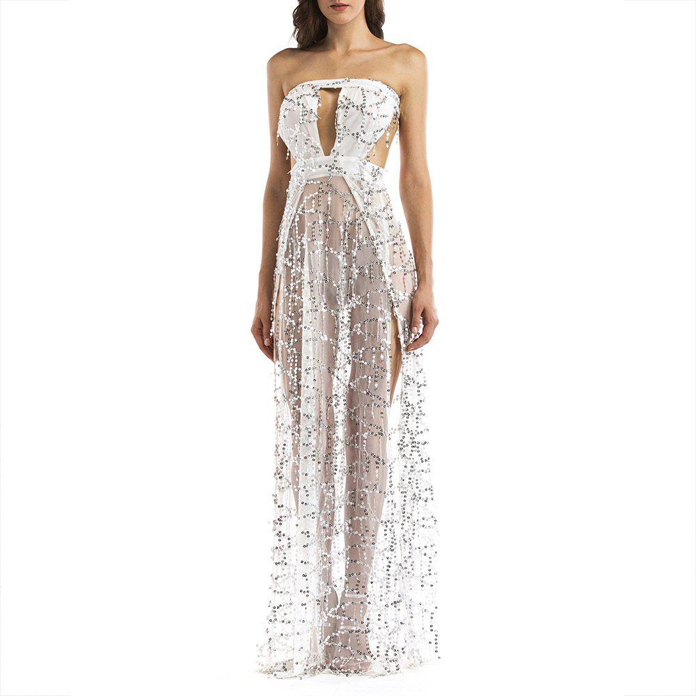 Elegant Tassel Sequined Tube Top Halter Mopping Длинные ночные клубы Sexy Dress Gown