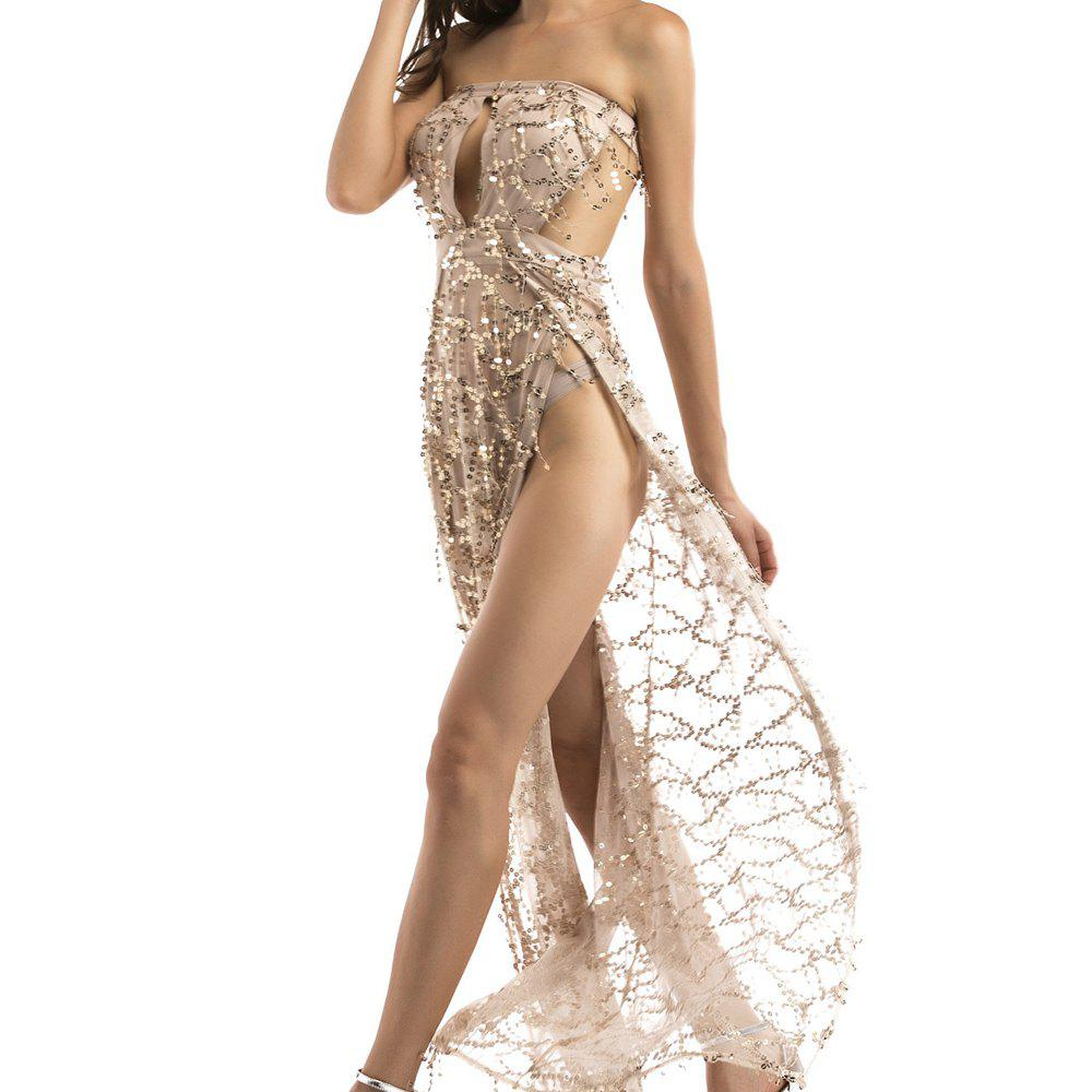 Outfits Elegant Tassel Sequined Tube Top Halter Mopping Long Nightclub Sexy Dress Gown