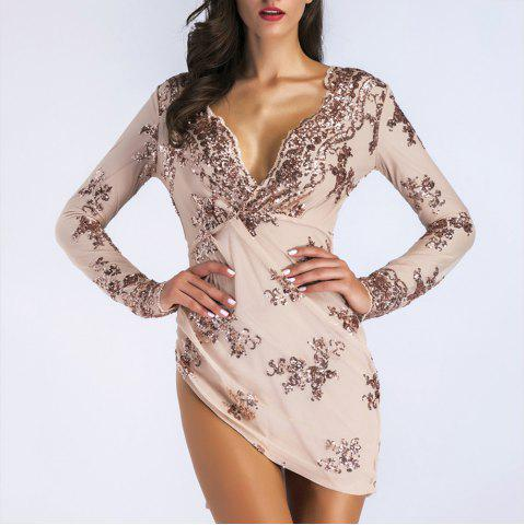 Elegant Sequined Lace Sexy Nightclub Mini Dress