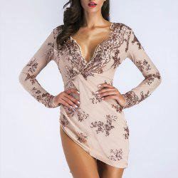 Elegant Sequined Lace Sexy Nightclub Mini Dress -