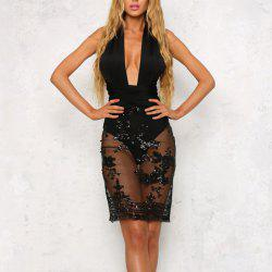 Elegant Multi-Threaded Cross-Back Backless Sexy Bandage Nightclub Dress -