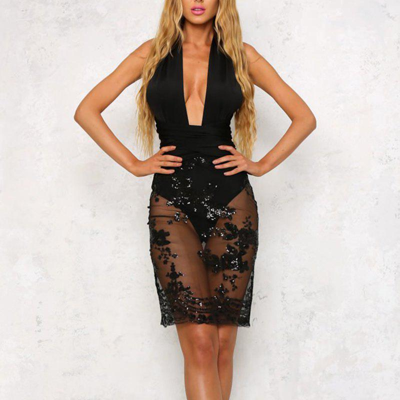 Best Elegant Multi-Threaded Cross-Back Backless Sexy Bandage Nightclub Dress