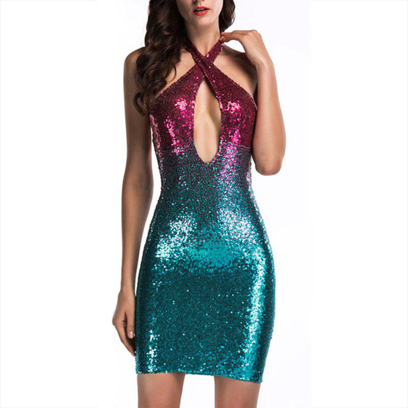 Outfit Elegant and Stylish Deep V-Neck Hanging Neck Nightclub Sequins Gradient Backless