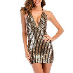 Elegant and Stylish Deep V-Neck Sexy Halter Strap Sequin Dress -