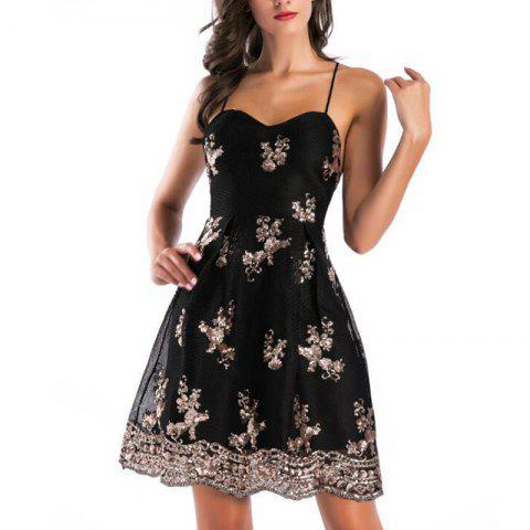 Fashion Gold Thread Embroidery Sexy Backless Cross Deep V-Neck Mopping Dress