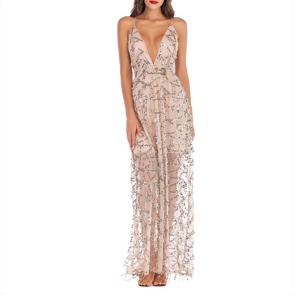 Trendy Elegant Fashion Sequined Sling Backless Deep V-Neck Tassel Mopping Dress