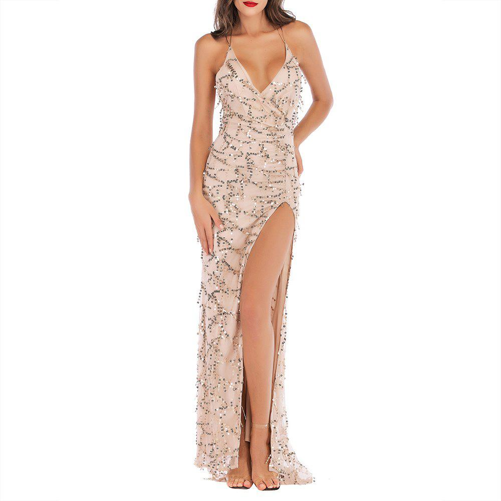 Store Elegant Fashion Nightclub Sequined Tassel High Fork Strap Dress
