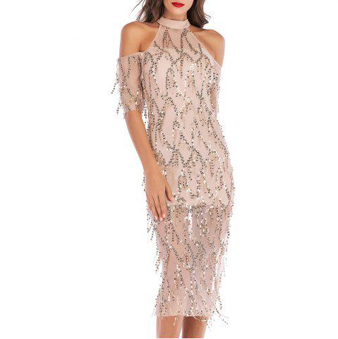 Elegant and Stylish Sexy Openwork Strapless Sequined Sleeve Dress