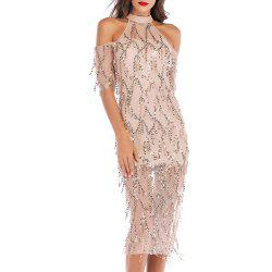 Elegant and Stylish Sexy Openwork Strapless Sequined Sleeve Dress -